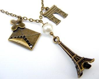 Love Paris Necklace, Eiffel Tower, Arc de Triomphe France necklace Beadwork Bib Birthstone Eco Friendly Lariat Pendant Statement Strand