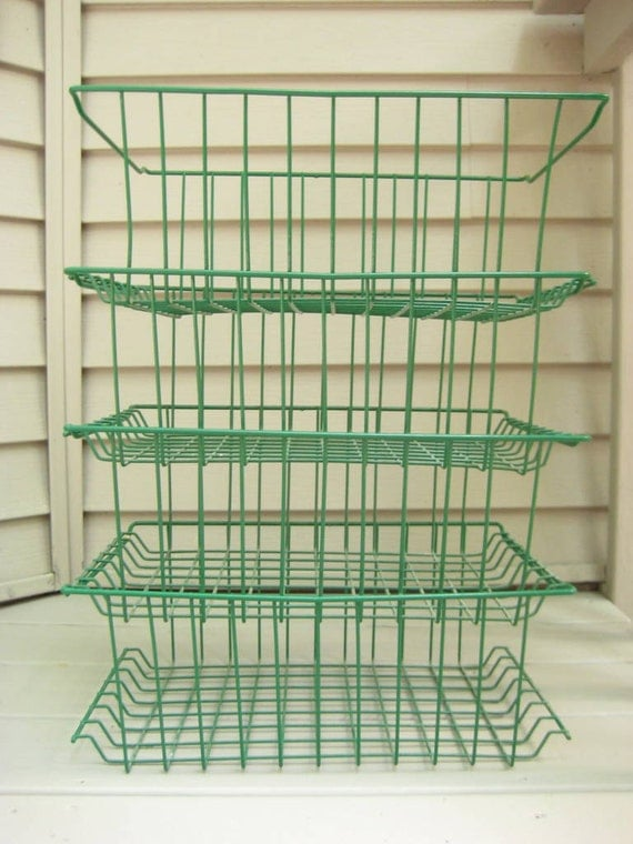 Vintage Green Wire Stacking Baskets - Industrial Office Set of 4.