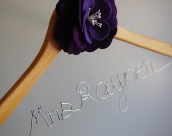Personalized Bridal/Wedding Hanger with flower