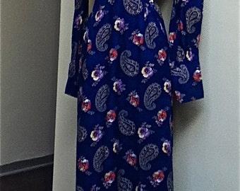 70s Maxi Prairie Dress/FLoWeR Child/Boho Hippie/This is Yours San Francisco/Cobalt Blue/Floral Maxi Dress/Paisley Dress