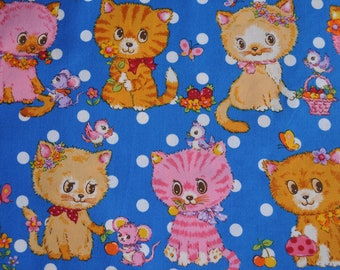 1/2 meter/yard - Cosmo  fabric with kawaii kitty cat   print - blue