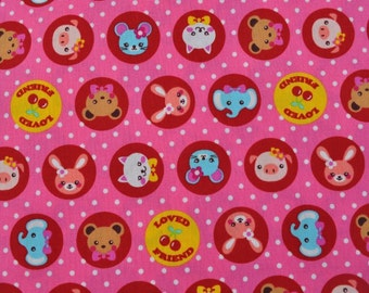 1 meter/yard - Japanese fabric with cute animals and cherries on pink background