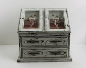 French Cottage Shabby and Chic Country Cottage Jewelry Box - Jewelry Armoire - Large Upcycled Vintage Jewelry Box