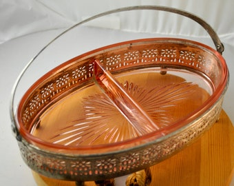 Pink Glass Condiments Dish with Removable Copper plated basket