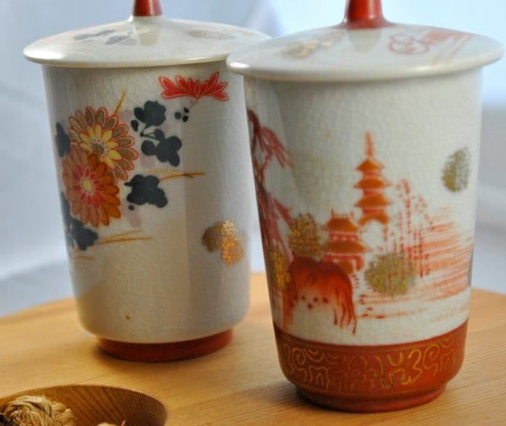 Japanese Ceramic Cups with Lids