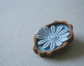 Pale Blue Vintage Lace Flower on Sky Blue Felt Wooden Brooch, Lace and Mahogany Series