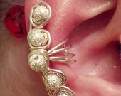 Silver ear cuff with silver sparkle beads