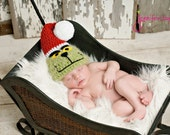 Christmas hat Green with Santa Hat Adorable Christmas Photos.  Newborn thru 6 months available.  Excellent Photo Prop