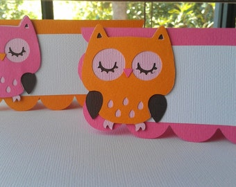 Owl Place Cards in hot pink and orange or pick your own colors and theme