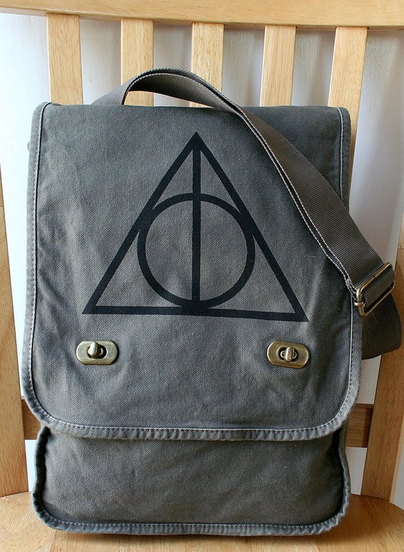 harry potter deathly hallows canvas messenger by