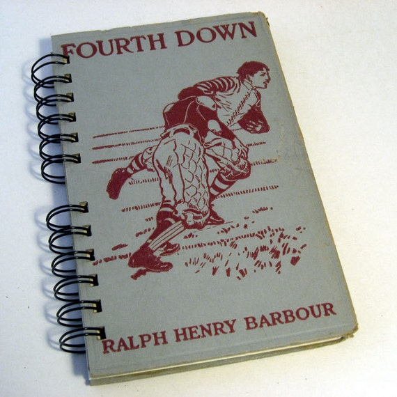 1920 FOURTH DOWN Handmade Journal Vintage Upcycled Book Vintage Football