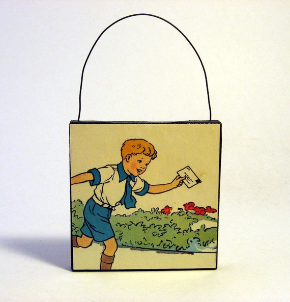 BOY & LETTER ORNAMENT Handmade Ornament from Vintage Upcycled Book Childrens Reader Holiday Decoration Boy Mailing Letter