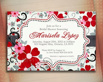 Red Flowers Bridal Shower Invitation, Floral Bridal Shower Invite, Pink and Red Flowers Bridal Shower Invite, Black w/ Green Color Hue