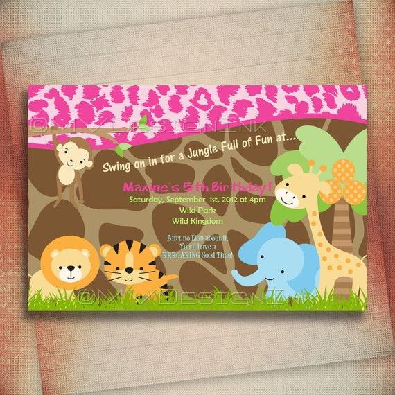 Jungle Safari Birthday Invitation, Jungle Safari Baby Shower Invite, Safari Jungle Birthday Invite, Leopard Printable-DIY