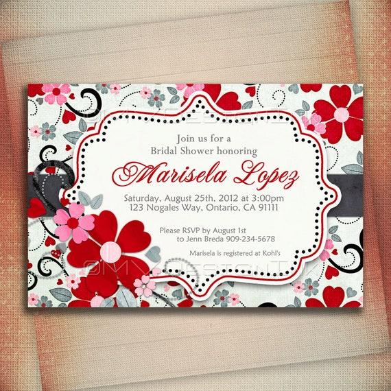 Red Flowers Bridal Shower Invitation, Floral Bridal Shower Invite, Pink and Red Flowers Bridal Shower Invite, Black w/ Green Color Hue