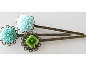 teal flower hair pins, bobby pins set of 3, flower hair accessories, bridesmaid gift, flower bobby pins, sage green teal, gift under 15