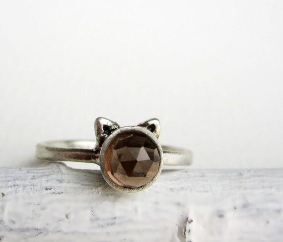 Brown Cat Ring, Smoky Quartz and Sterling Silver