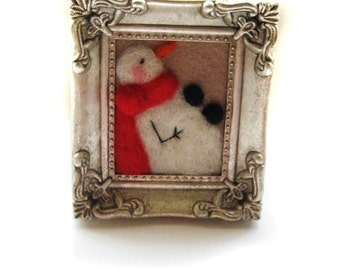 Snowman Decor - Felted Snowman - Snowman Framed Art - Winter Decor