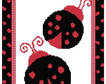 Lady Bugs Black with Red Spots Cross Stitch Pattern