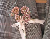 RESERVE for alwize20    TO SEE  Wedding Boutonniere  Made From Vintage Flowers