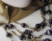 One And A Half Yards Vintage Dark Purple  Cat's Eye Glass Beaded Chain