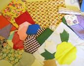 Vintage Quilters Assortment 1950s Fabric Pieces Applique Block