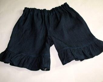 Girls Denim Ruffle Shorts Stretch Denim Boutique Style Ruffled Shorts Dark Indigo Blue