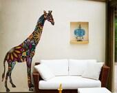 Giraffe Wall Graphic Sticker Decal - Colorful Floral Giraffe Wall Mural
