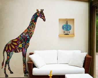 Giraffe Wall Sticker Decal - Multicolor Floral Pattern