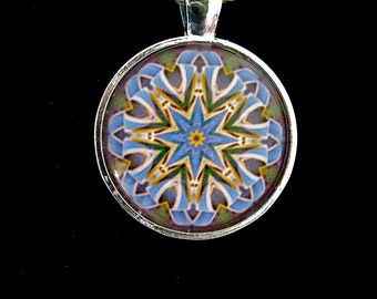 "Glass Tile Pendant, ""Bill's Bows"" original kaleidoscope design"