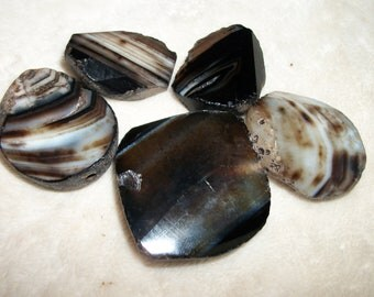 Graduated Black stripe Agate Faceted slab pendant or focal beads- 20 to 45 mm- Blafs-275t (5 pieces)