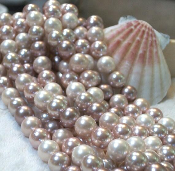 A Grade South Sea Shell Pearl- Multicolor -8 mm round (full strand)-mauves