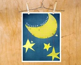 Kids Wall Art Twinkle Twinkle Little Star, Nursery Rhyme Print, Illustration Boy Girl Nursery Kids Room, Stars and Moon Theme, Rocketship
