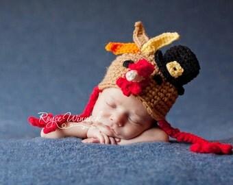 Thanksgiving Turkey Hat  Baby Crocheted  Photography Prop Newborn 0-3 months 3-6 months