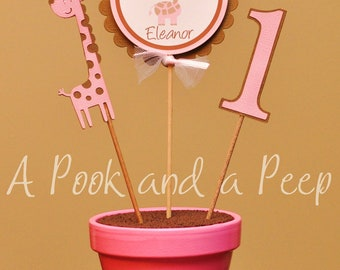 Pink and Brown Giraffe Birthday or Shower Potted Centerpiece Decoration