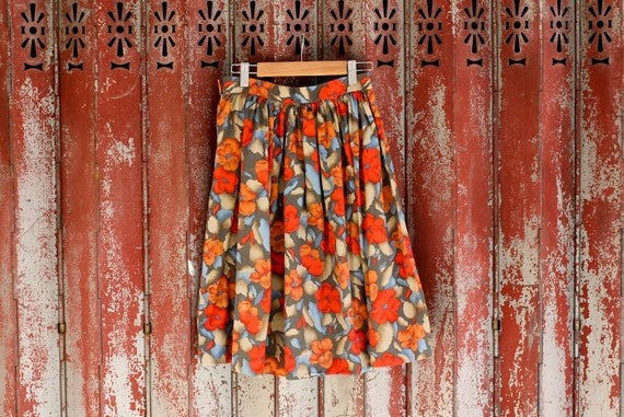 Vintage Abstract Floral Print Skirt