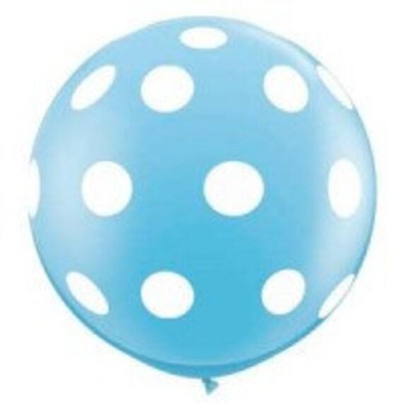 3 Foot Round Designer Balloon Polka Dot Baby Blue w/Tassel