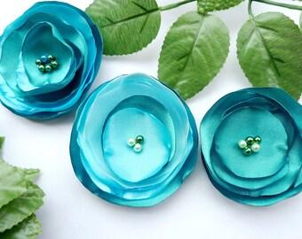 Set of 3 handmade blue fabric/organza flowers, Flower appliques embellishments, free shipping