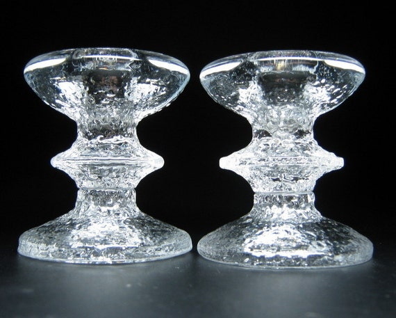 pair of IITTALA glass candle holders timo sarpaneva design FESTIVO