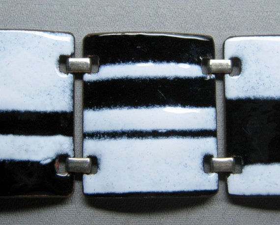 on hold for RW vintage KAY DENNING enamel bracelet mid century modern eames era black & white