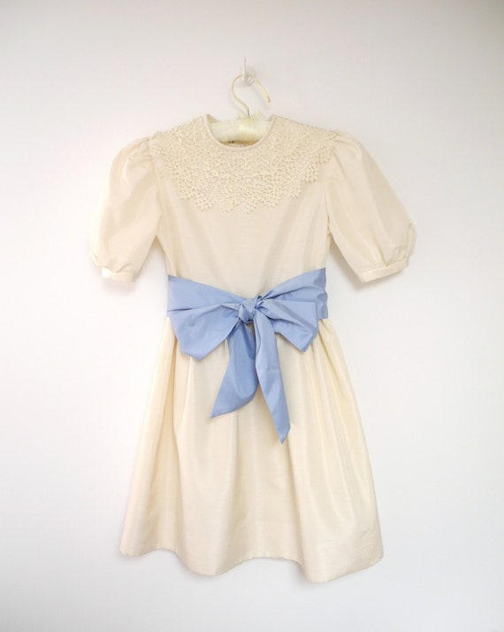 1970's Saks Fifth Avenue Ivory and Sky Blue Silk Party Dress
