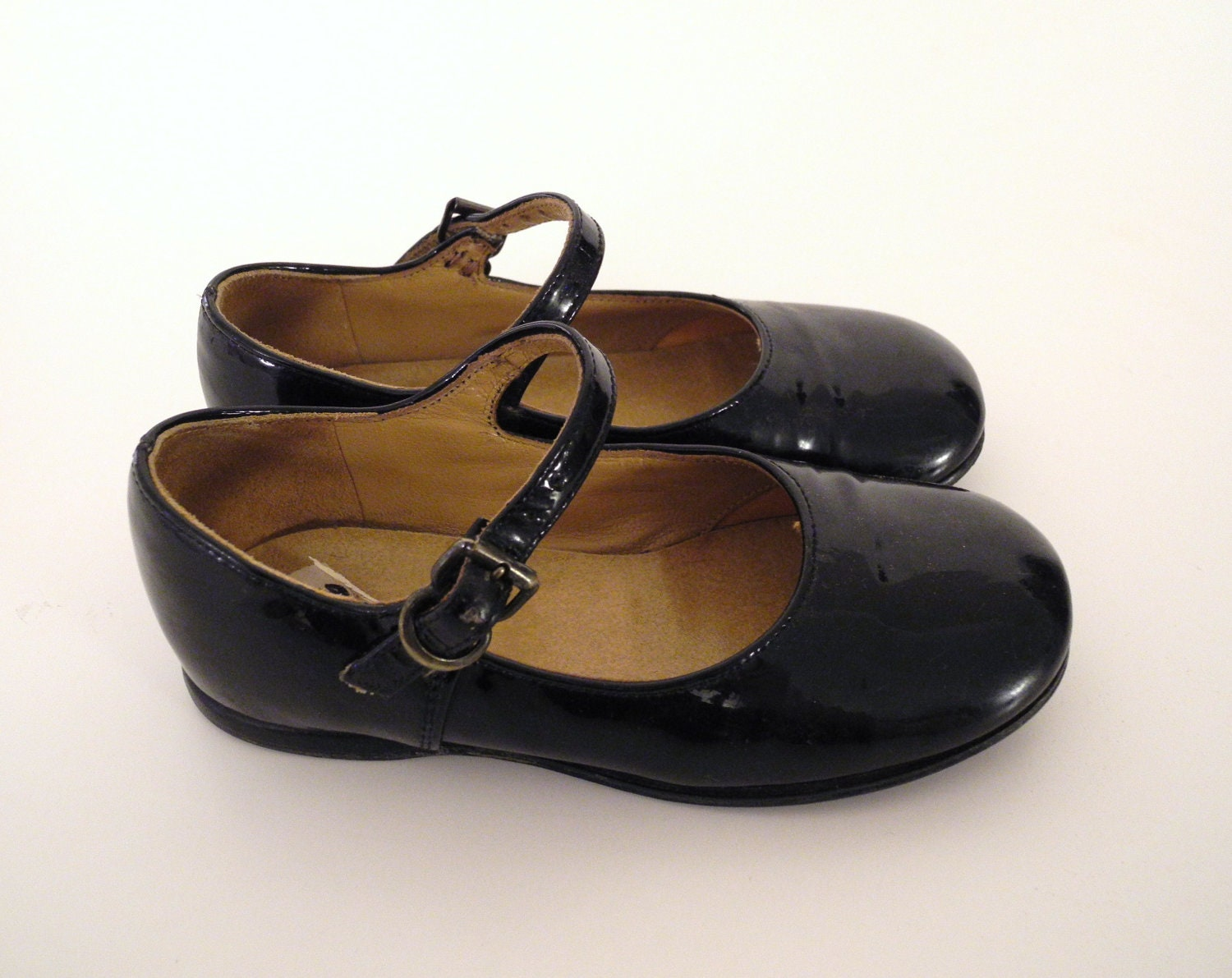 Vintage Baby Shoes Black Patent Leather Mary Jane