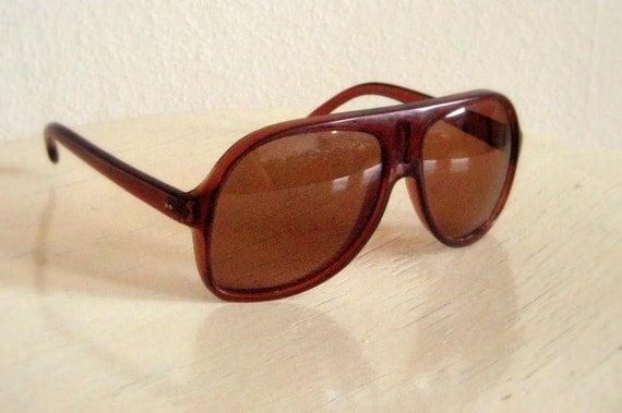 Vintage 80s Polaroid Sunglasses Unisex Brown Plastic Aviator Glasses