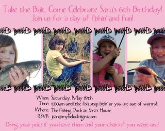 Birthday Invitations:  Pink Fish Bones