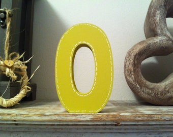 Freestanding Wooden Letter 'O' - Stitch Edge Finish - 15cm - Ariel Style Font - various colours and finishes