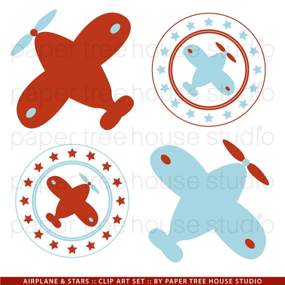 Clip Art Set - Airplanes and Stars - Red and Blue - 8 Print Ready Files - JPG and PNG Format - ID 131