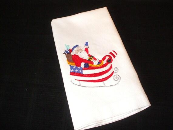 Patriotic Santa: Embroidered Towel