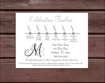 100 Monogram Timeline to include with your Wedding Invitations. Includes printing - monogrammed
