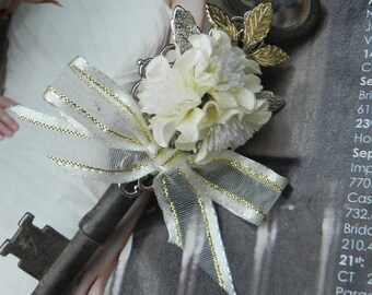 Vintage Skeleton Key Boutonniere with Ivory Accents