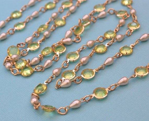 Vintage Beaded Necklace, Lime Green Bezel Set Lucite Crystals, Teardrop Pearls, Long Gold Chain, 1960's Mad Men Jewelry